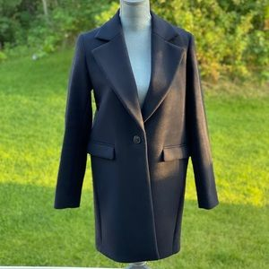 Massimo Dutti wool blend navy coat size 6